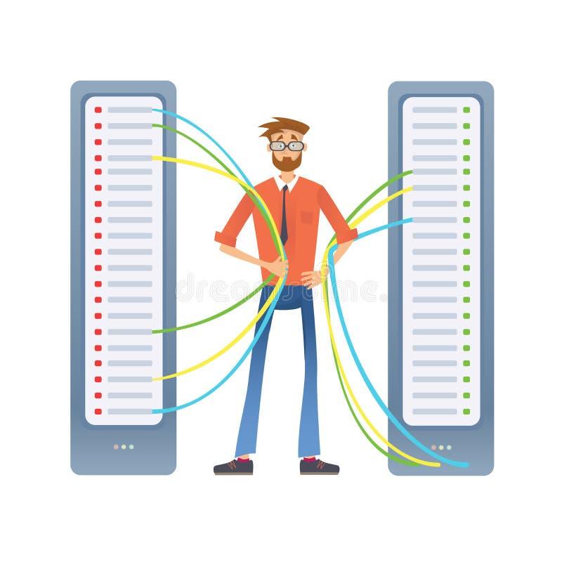 一个人与计算机服务器或回报农场一起使用 技术专家在数据中心 也corel凹道例证向量 库存例证