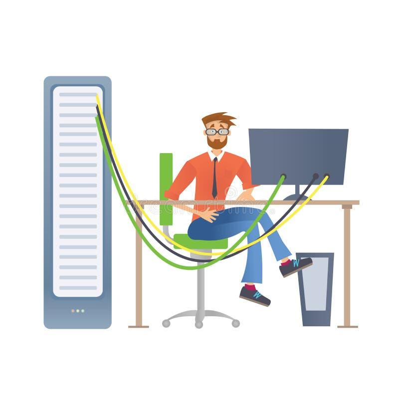 一个人与计算机服务器或回报农场一起使用 技术专家在数据中心 也corel凹道例证向量 皇族释放例证