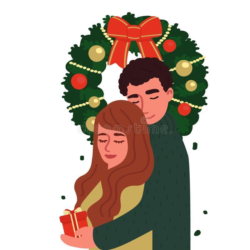 一个人和女孩拥抱在圣诞节花圈下 在白色背景隔绝的卡通人物 在样式的传染媒介例证 库存照片