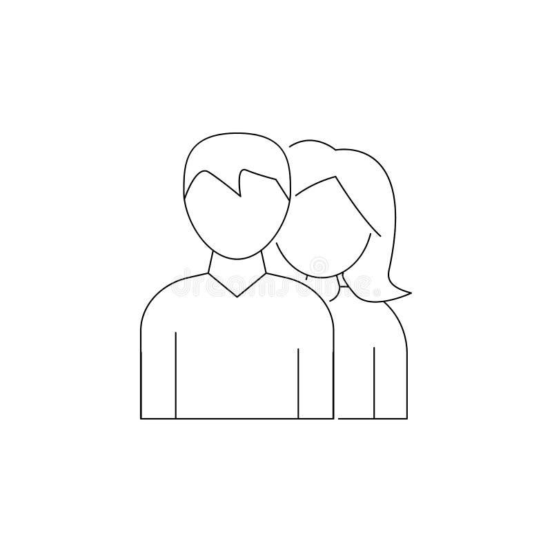 一个人和妇女象的具体化 顶头狩猎象的元素 优质质量图形设计 标志,概述标志汇集 皇族释放例证