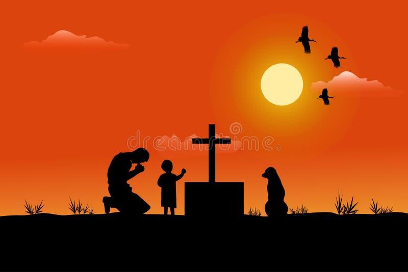 一个人和孩子的剪影有在他旁边的一条狗 是哀伤的在坟墓有日落背景 向量例证