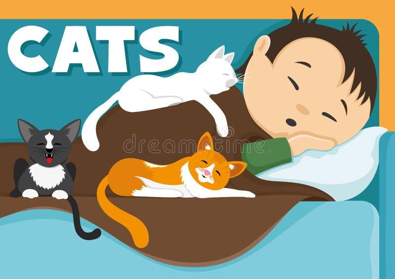 download 一个人和他的猫 向量例证.