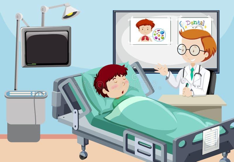 一个人在医院 向量例证