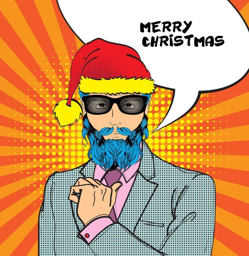 一个人在圣诞老人帽子,衣服和玻璃