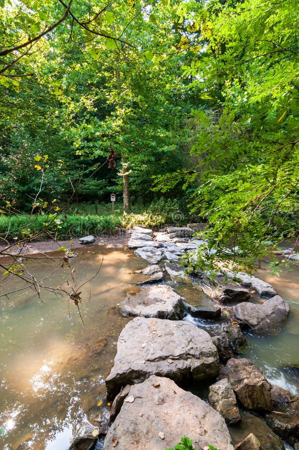 一个人在弗利克公园,匹兹堡,宾夕法尼亚,美国做了水坝和人行道横跨九英里奔跑 库存照片