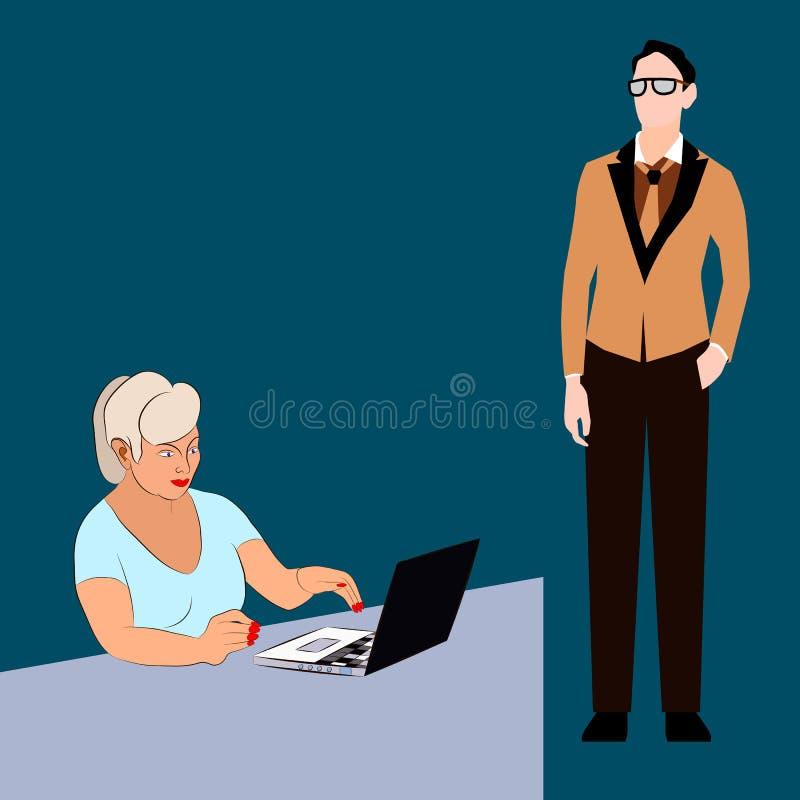 一个人在研究膝上型计算机的妇女旁边站立 皇族释放例证