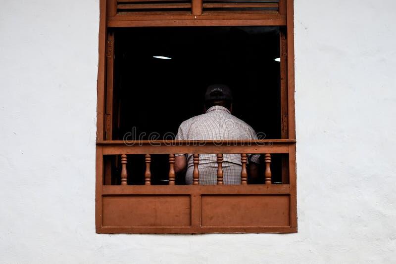 一个人在Barichara 免版税库存照片