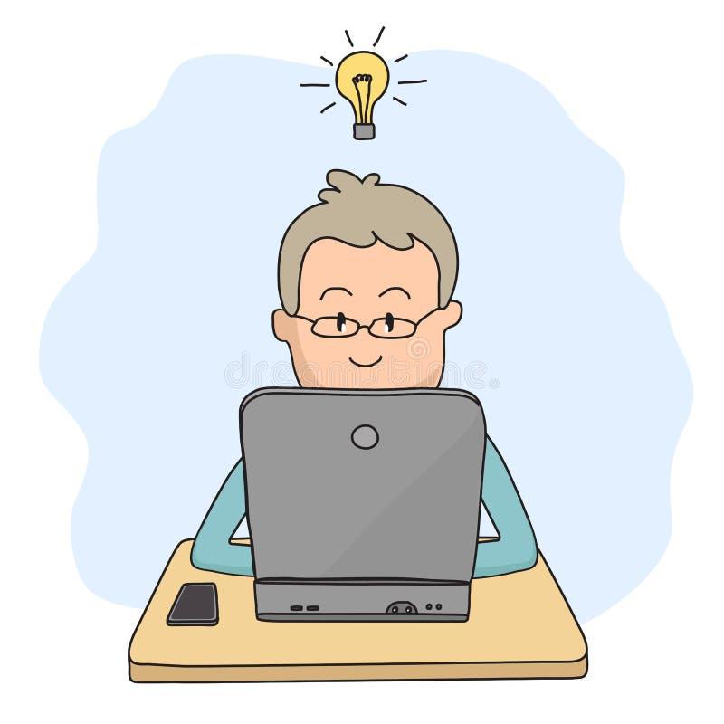 一个人坐在膝上型计算机,并且想法来了到他 向量例证