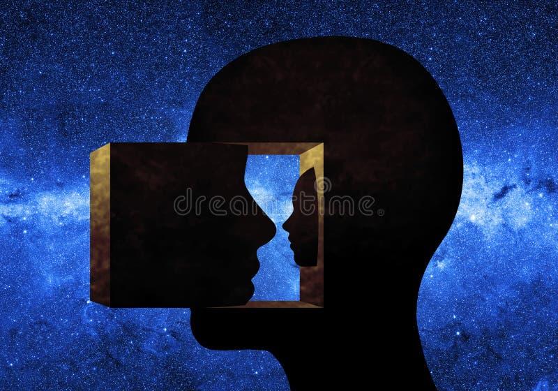 一个人头的雕塑 图库摄影