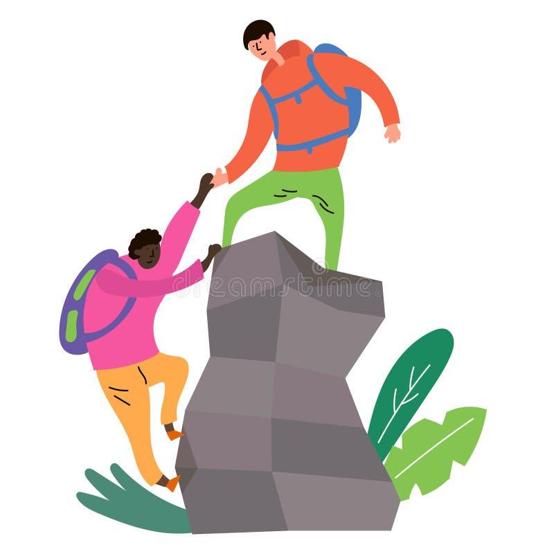 一个人帮助征服山的上面对另一个人 皇族释放例证