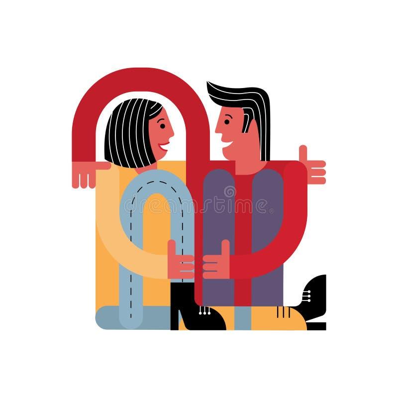 一个人拥抱一名妇女 恋人一起坐 看板卡为华伦泰` s日 库存例证