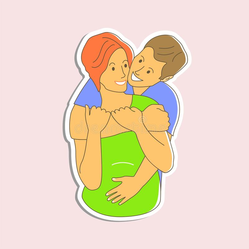 一个人拥抱一孕妇 父母等一个孩子 贴纸例证 皇族释放例证