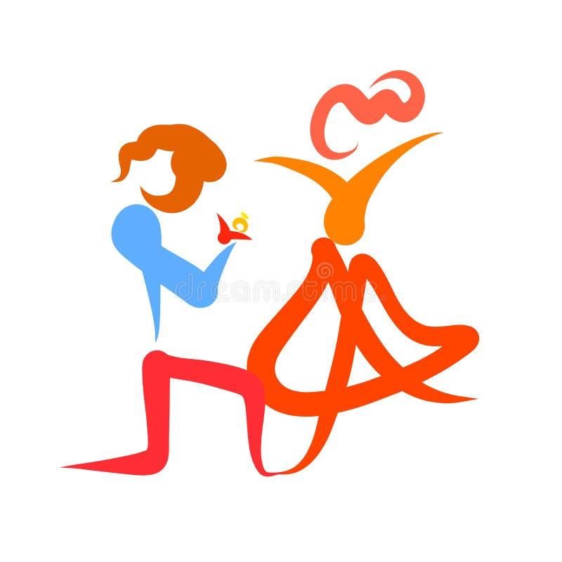 一个人提出一个提案给他心爱的妇女,下跪 向量例证