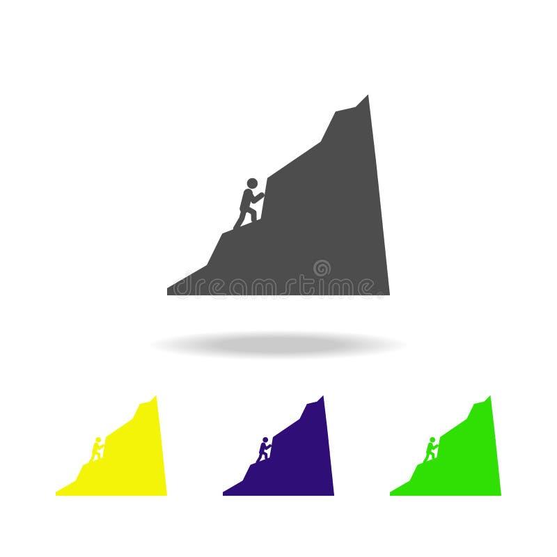 一个人攀登山上色了象 被克服的挑战例证的元素 标志和标志汇集象网站的 库存例证
