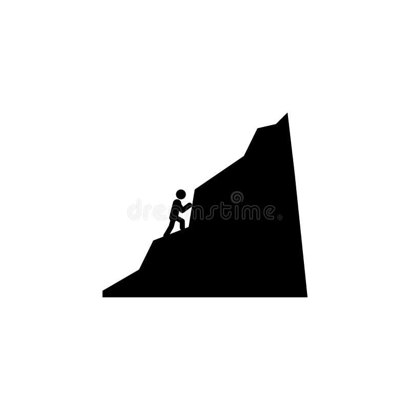 一个人攀登山象 被克服的挑战例证的元素 优质质量图形设计象 标志和标志c 向量例证