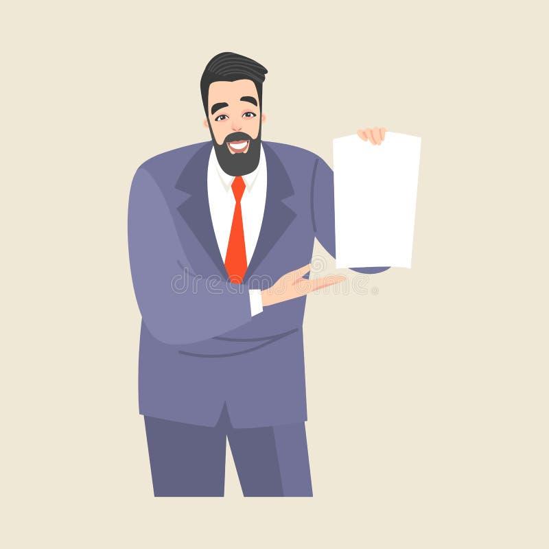 一个人显示一张空白的纸片 向量例证