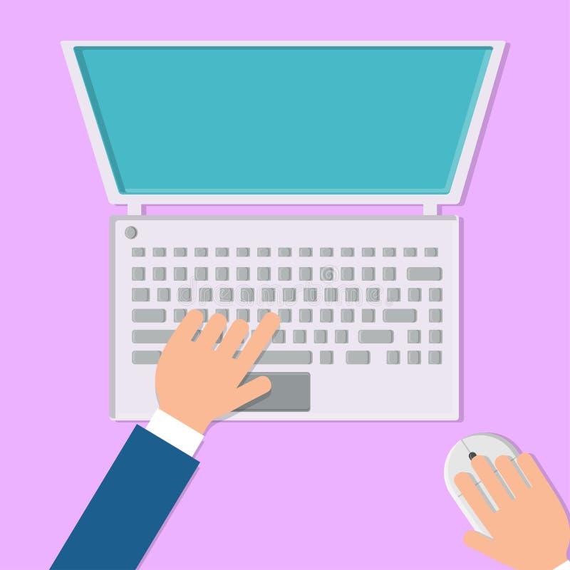 一个人的传染媒介例证与他的在一手提电脑的手一起使用有一个老鼠和键盘的在桃红色背景,顶视图 皇族释放例证