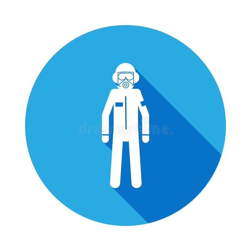 一个人的剪影一个防毒面具象的与长的阴影 特勤元素象 行业标志,被隔绝的标志collec 库存例证