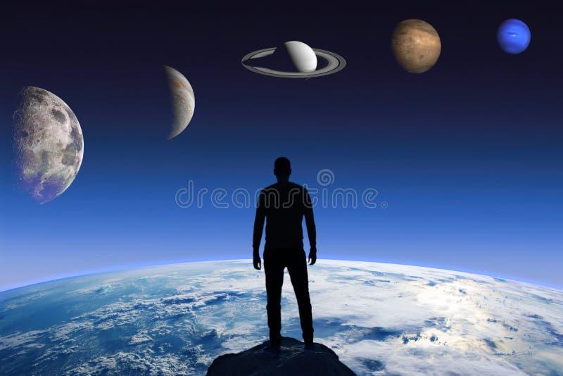 一个人的剪影地球和不同的行星的背景的 美国航空航天局装备的这个图象的元素 向量例证