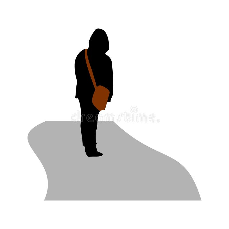 一个人的剪影有一个袋子的在他的肩膀 残疾 向量 向量例证