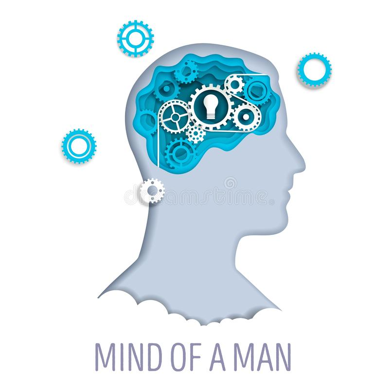 一个人的头脑,在纸艺术样式的传染媒介例证 皇族释放例证