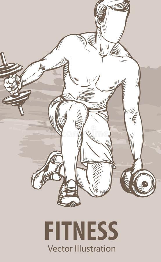 一个人的手剪影训练与哑铃 传染媒介体育例证 运动员的图表剪影 库存例证