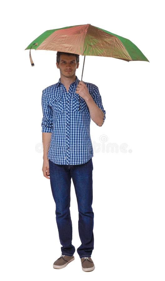 一个人的正面图有伞的 图库摄影