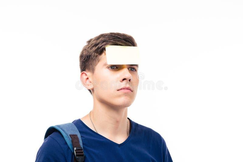 一个人的特写镜头画象有贴纸的在前额 库存照片