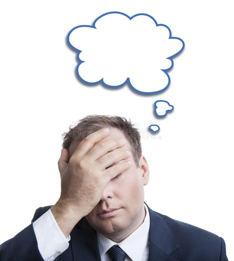 一个人的画象凝思的与在他的头的一朵云彩 库存图片