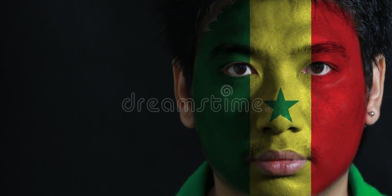 一个人的画象有塞内加尔的旗子的在他的在黑背景的面孔绘了 库存照片