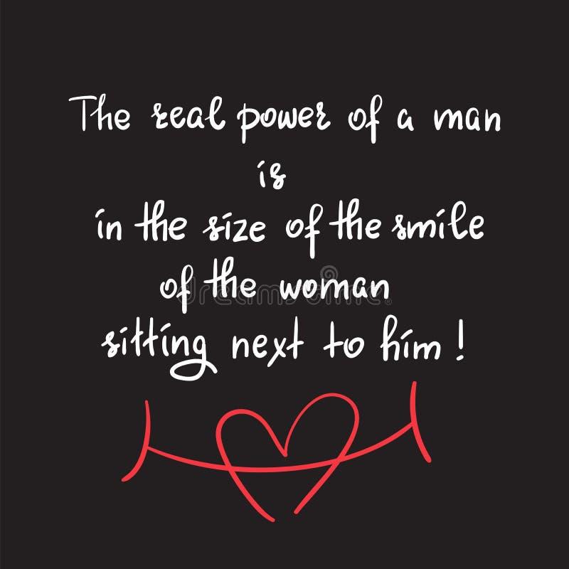 一个人的真正的力量在妇女的微笑的大小坐在他旁边的 皇族释放例证