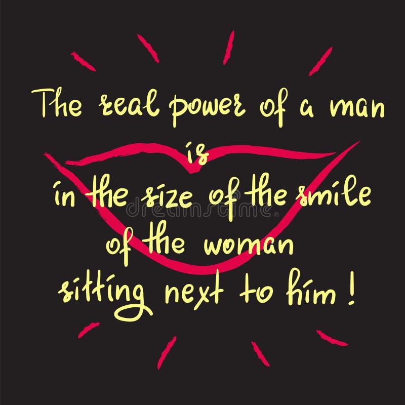 一个人的真正的力量在妇女的微笑的大小坐在他旁边的 库存例证