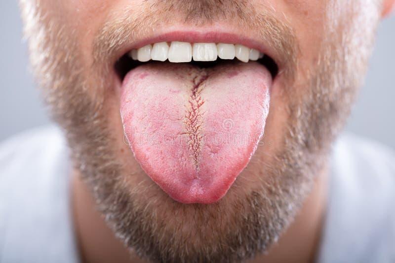一个人的舌头的特写镜头 免版税库存照片