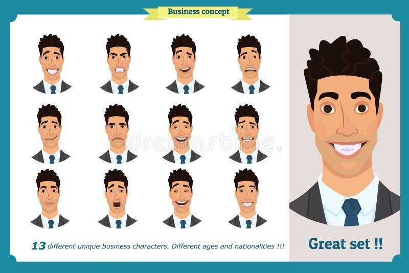 一个人的面孔表示 平的漫画人物 在衣服和领带的商人 库存例证