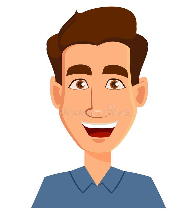 一个人的面孔表示-微笑 男性情感 库存例证