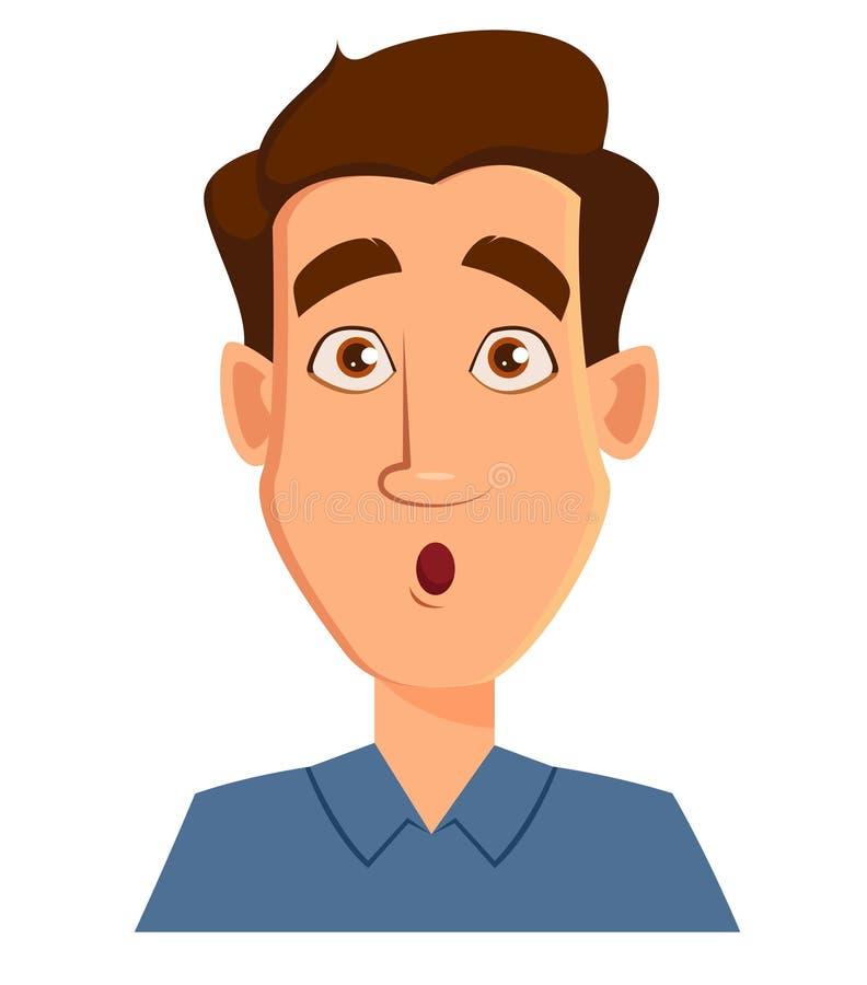 一个人的面孔表示-惊奇 男性情感 库存例证