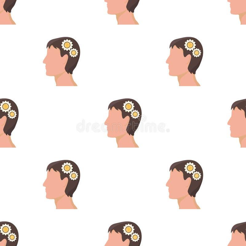 一个人的头有齿轮的 想法发电器和想法在动画片样式传染媒介标志库存选拔象 皇族释放例证