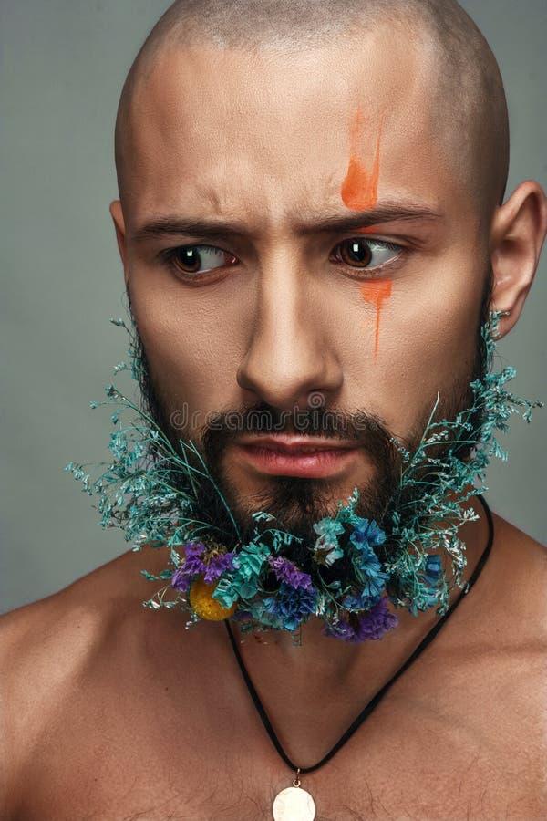 一个人的画象有创造性的五颜六色的构成的 免版税库存照片