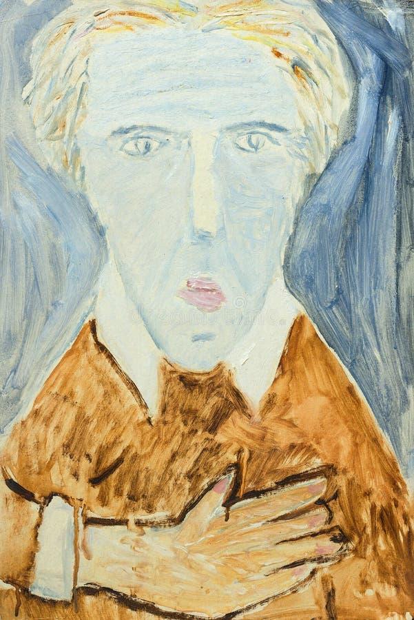 一个人的画象美好的原始的油画帆布的 库存例证
