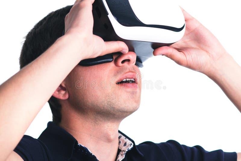 一个人的画象虚拟现实玻璃的 库存照片