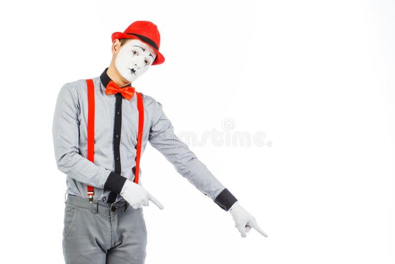 一个人的画象,艺术家,小丑, MIME 展示某事,隔绝 库存图片