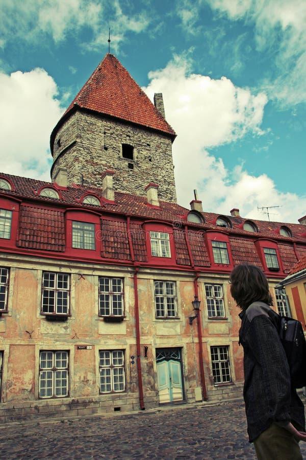 一个人站立与他的后面并且看与红色瓦片的一个老美丽的大厦在塔林老  免版税库存照片