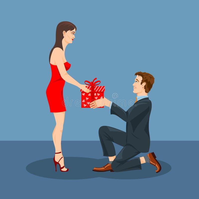 一个人给一件礼物他心爱的妇女 库存例证