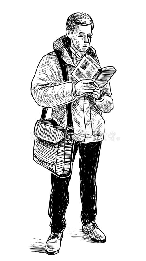 一个人读在地铁的一本书 库存例证