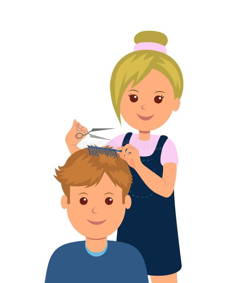 一个人进入理发店得到理发 妇女美发师做理发和头发称呼 向量例证