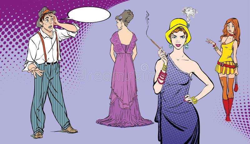 一个人面对选择 困难决策 男孩惊奇了 选择妇女的人 流行艺术减速火箭的样式例证 人们 库存例证