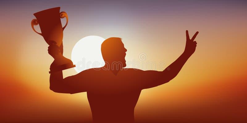 一个优秀运动员扶养杯子优胜者并且使标志战胜 皇族释放例证