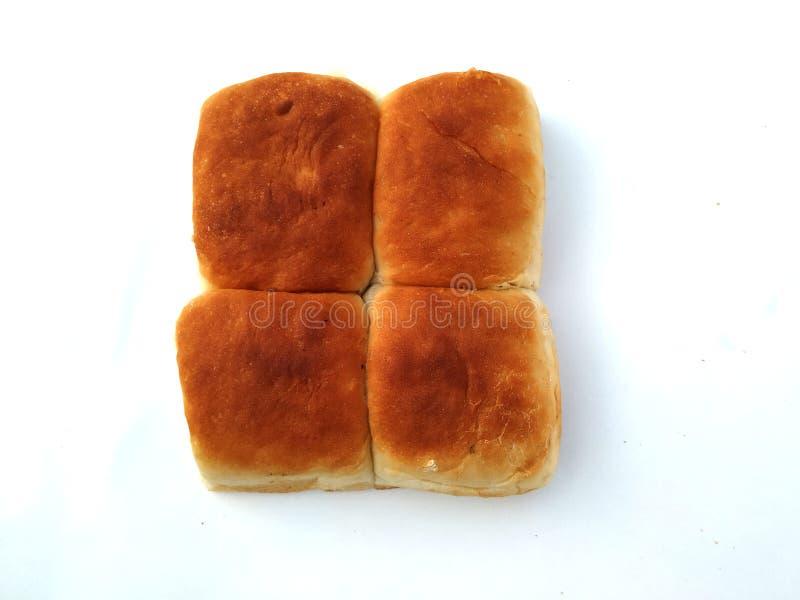 一个传统方形的面包在白色背景 在白色背景隔绝的面包 库存图片