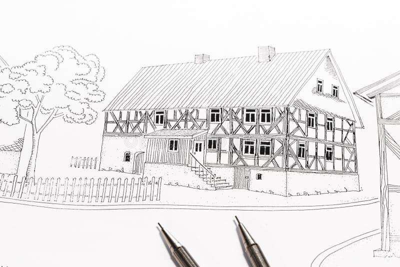 一个传统木构架的家的剪影 向量例证