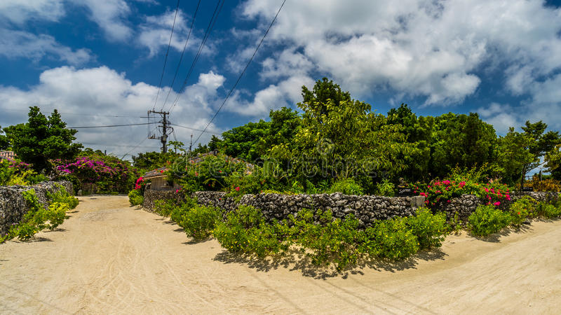 一个传统村庄在竹富岛,冲绳岛日本小海岛  库存照片